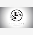 f letter logo design with circle swoosh border vector image