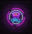glowing neon grill sign in circle frames on dark vector image