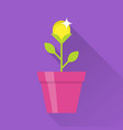 gold coin flower pot icon vector image vector image