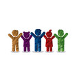 group of children holding hands icon vector image