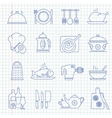 Hand drawn cooking icons vector image