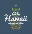 hawaii enjoying paradise tee print with pineapple vector image vector image