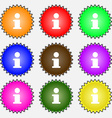 Information Info icon sign A set of nine different vector image vector image