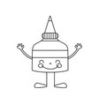 line kawaii happy glue bottle with arms and legs vector image