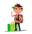 little traveler boy with suitcase cap on his head vector image vector image