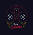 merry christmas card neon lights vector image vector image
