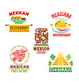 mexican cuisine restaurant icons set vector image vector image