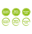 natural food logo icon set organic eco labels vector image vector image