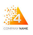 number four symbol on colorful triangle vector image vector image