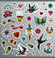 old school tattoo set vector image vector image