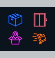 parcel package location and lift icons push cart vector image