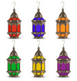 ramadan kareem set of multicolored lanterns vector image