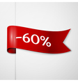 Red ribbon with inscription 60 percent discounts vector image