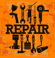 repair and maintenance with a set tools vector image vector image