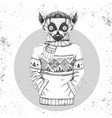 retro hipster animal lemur dressed in pullover vector image vector image
