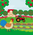 rural landscape - rooster tractor and orchard vector image