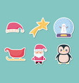 santa claus with set icons of christmas vector image