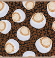 scattered coffee beans cappuccino cups seamless vector image