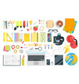 school stationery top view vector image vector image
