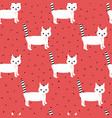 seamless pattern with cute white kittens on vector image