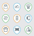 set of 9 e-commerce icons includes mobile service vector image vector image