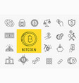 set of line stroke cryptocurrency icons vector image