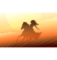 Silhouette of a Woman riding a horse vector image
