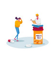tiny doctor character sit on huge medicine bottle vector image vector image