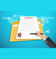 businesshand holding pen to signing contract vector image