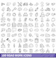 100 road work icons set outline style vector image vector image