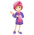 A fresh girl wearing a bathrobe vector image vector image