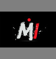 alphabet letter combination mi m i with grunge vector image vector image