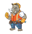 Angry Rhino Construction Worker Mascot vector image vector image