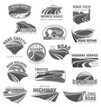 asphalt road highway and speed freeway symbol set vector image vector image