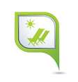baech chair symbol on green map pointer vector image vector image