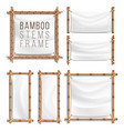bamboo frame set with canvas wooden frame vector image vector image