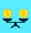 bitcoin and dollar on scales vector image vector image