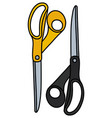 black and yellow big scissors vector image vector image