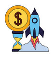 business rocket clock coin money vector image vector image