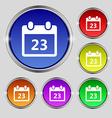 calendar page icon sign Round symbol on bright vector image vector image