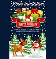 christmas greeting new year poster vector image vector image