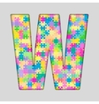 Color Piece Puzzle Jigsaw Letter - W vector image