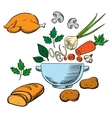 Cooking process with vegetables and ingredients vector image