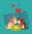 couple dogs with gift box happy new year 2018 vector image