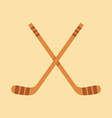 crossed hockey sticks in flat design style vector image vector image