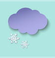 dark paper cut cloud and snow 3d art style vector image vector image