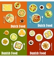 Dutch and danish traditional cuisine vector image vector image