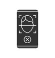 face scan rejection glyph icon vector image vector image