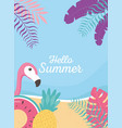flamingo float pineapple beach exotic tropical vector image vector image
