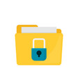 flat folder lock icon on white background file vector image vector image